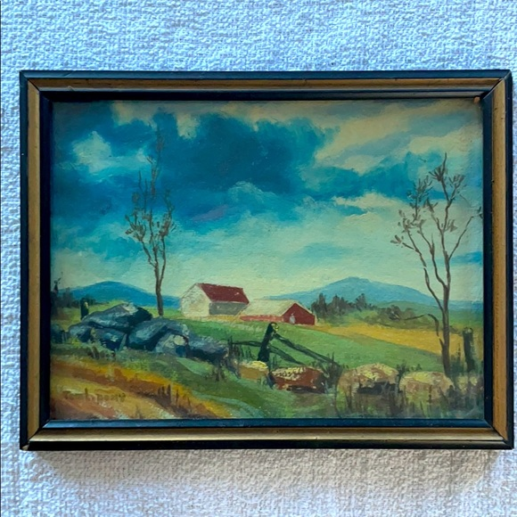 Antique Oil Painting of Landscape and Barn- Signed